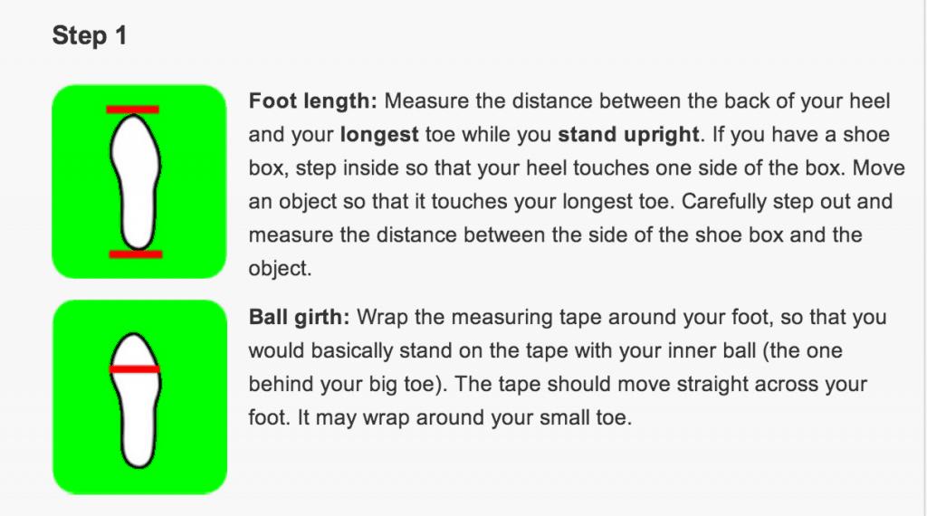Det finns tydligt beskrivet hur man ska mäta sina fötter för att fylla i de olika måtten. Det är bra att ta varje mått tre gånger, och sedan använda genomsnittet för dessa mått, för att det ska bli så korrekt som möjligt.