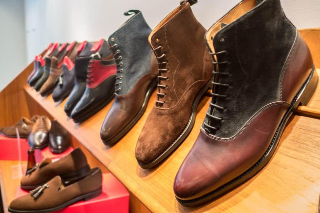 Ett antal av modellerna som visades upp på trunk showen med J. FitzPatrick Footwear hos Skoaktiebolaget.