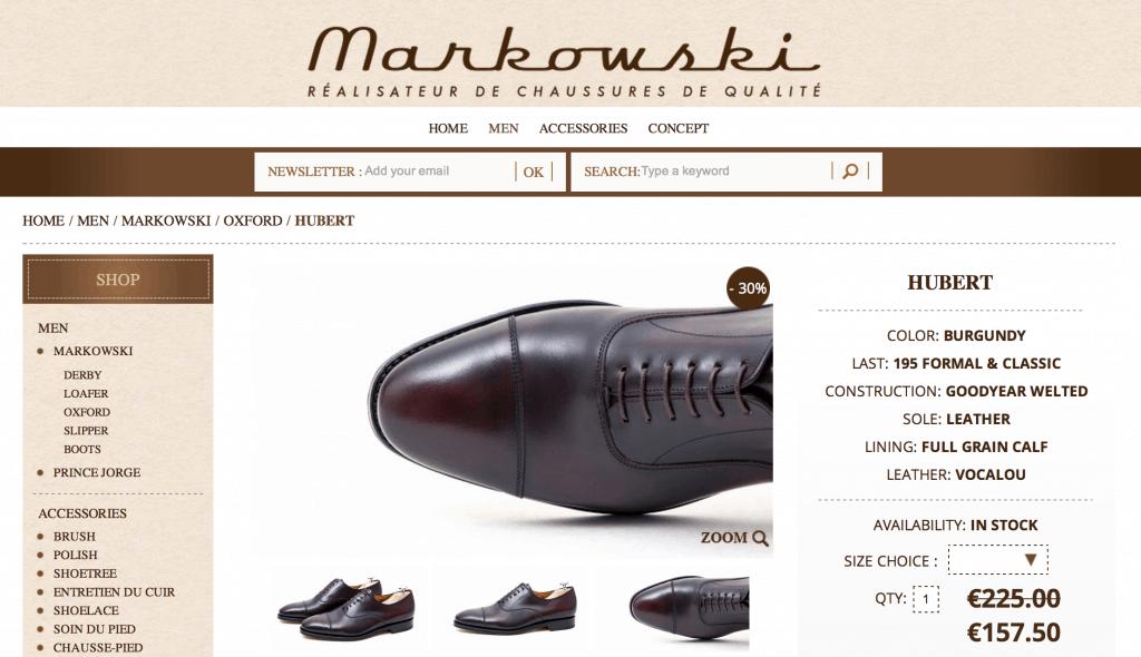 Foster & Son-stuket med bild på skon liggande kopieras av allt fler, så även på Markowskis nya sida. Här en klassisk oxford i burgundy nedsatt med 30 procent.