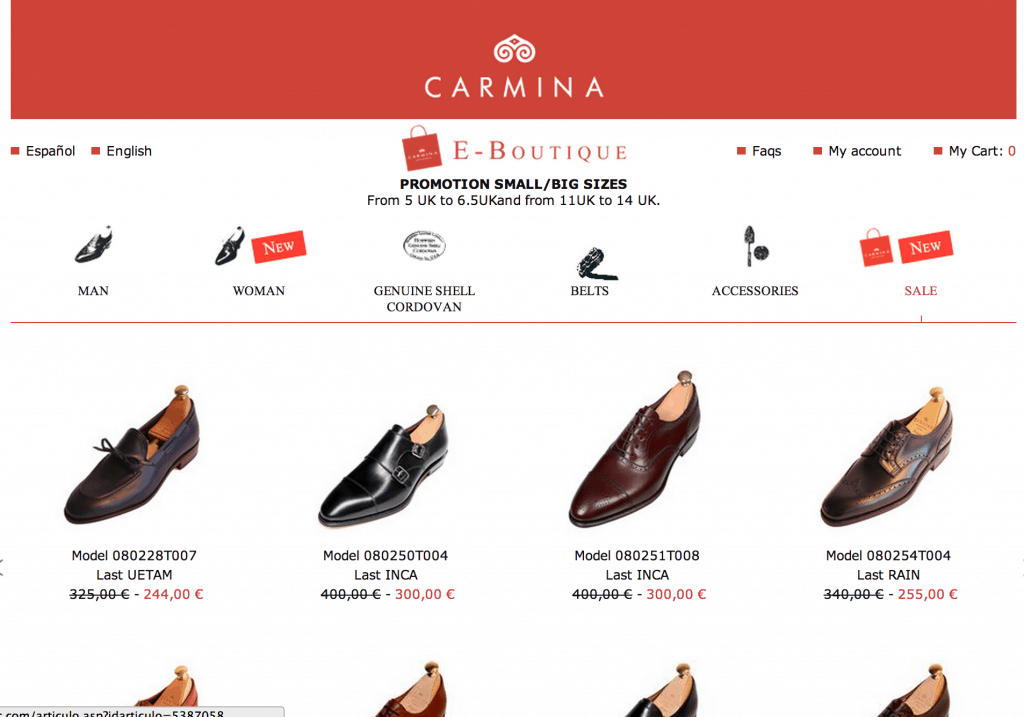 Tyvärr bara små och stora storlekar på Carminas rea, men desto roligare för er som har sådana fötter.