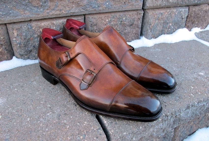 Här ett par Edward Green Westminister som beställdes från Skoaktiebolaget, men innan de skickades till kunden i Kanada skickades de till Dandy Shoe Care för den här läckra patineringen. Bild: Dandy Shoe Care