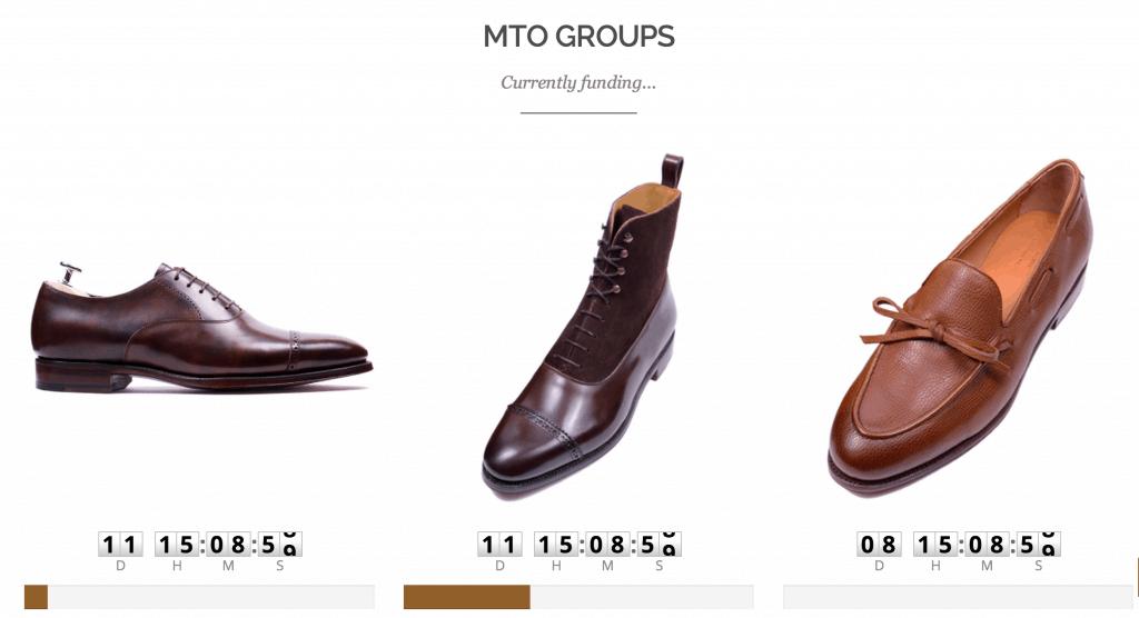 Här är några av de grupp-MTO:s som just nu går att hoppa på. Atapeln under anger hur nära man är att få tillräckligt med ordrar för att skon ska sättas i produktion.