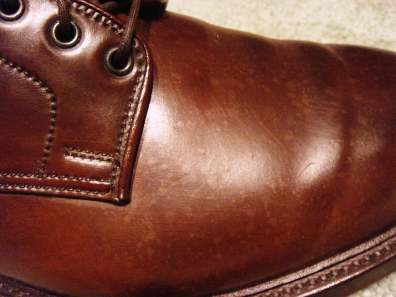 En sko med riktigt mycket prickar från regndroppar.