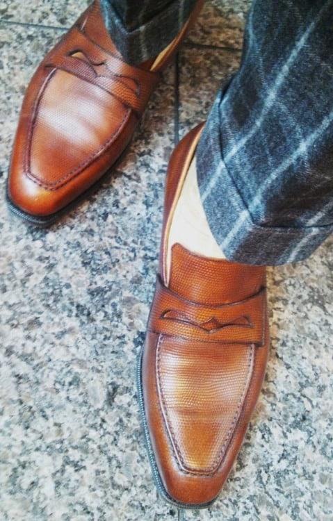 Corno Blus RTW görs av japanska Central Shoes, dessa är i ödleläder. Bild: Corno Blu