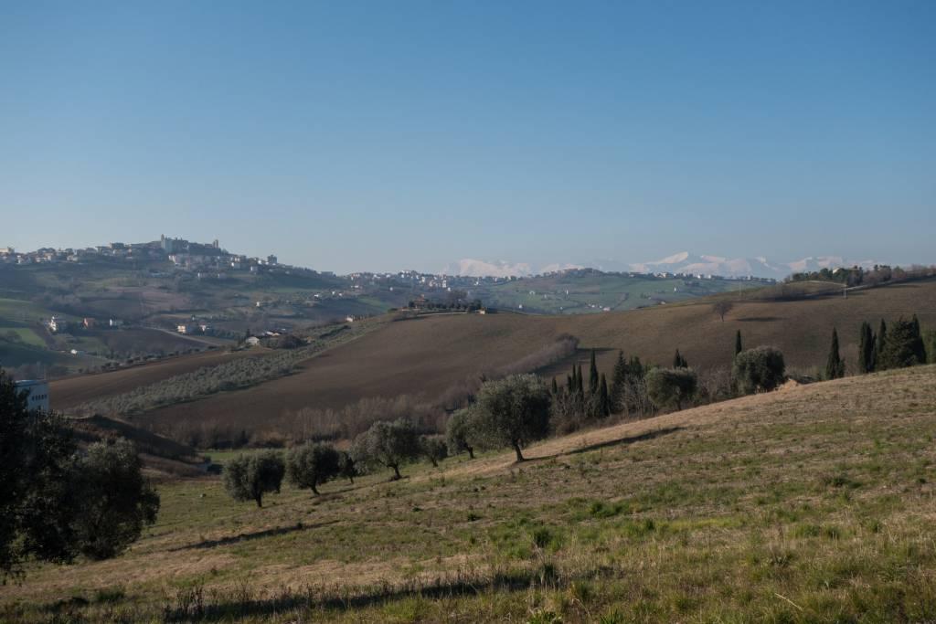 Åt ena hållet från Montegranaro ser man snöklädda bergstoppar.