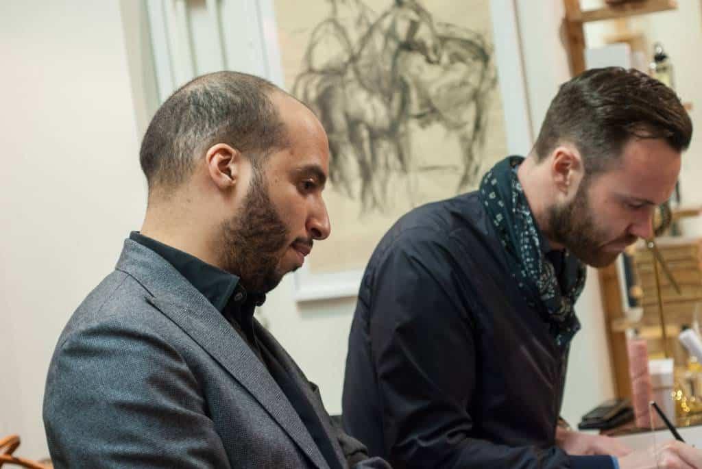 Chris Gumbs, Sales Manager på Edward Green, närmast, och Per Mivér som driver Linnégatan 2.