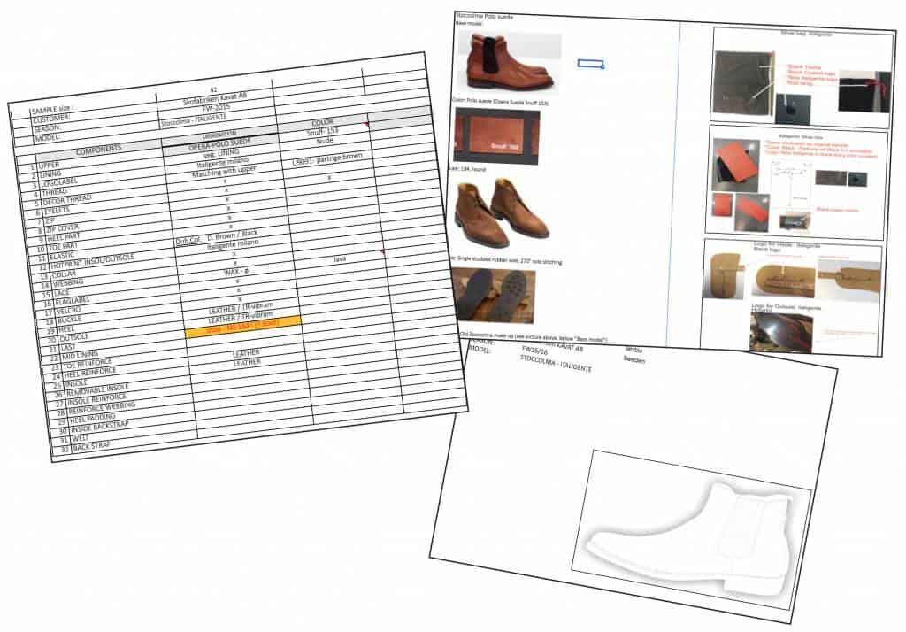 """Här ett exempel på hur sidor ur ett så kallat """"spec sheet"""" kan se ut, när man lägger en beställning från en fabrik. Detta är för Italigente Basic/Classic Stoccolma i polo suede."""
