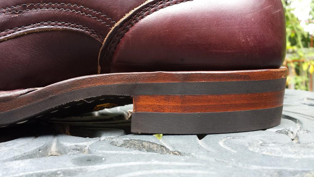 Fint vårdad sul- och klackkant på en känga med gummisula. Bild: Reddit
