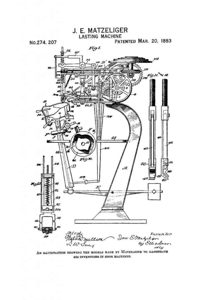 En av flera ritningar som ingick i Matzeligers patentansökan. Bild: Gutenberg