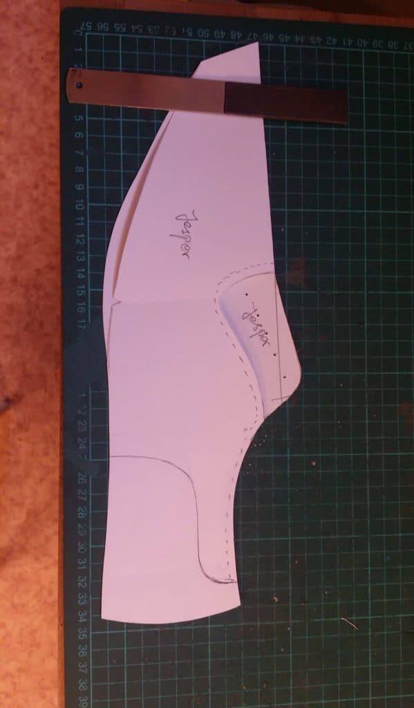 Mönstret som är grunden till skon. Här var jag faktiskt själv med och ritade upp detta.