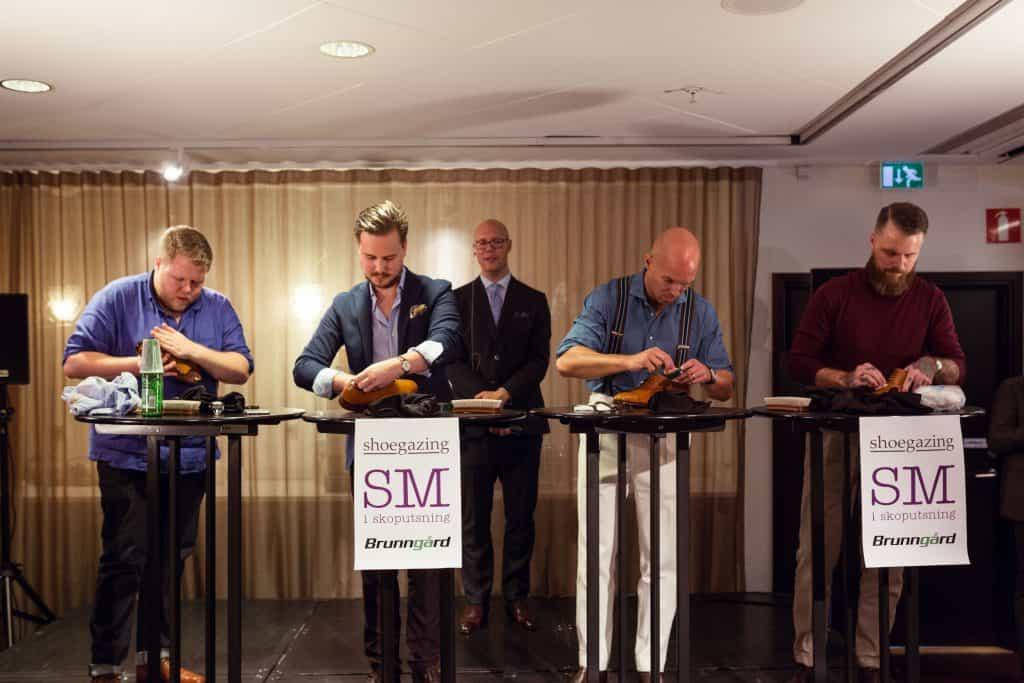 Finalisterna i SM i skoputsning, från vänster: Tor Jonsson, Jacob Mattson, Anders Ericson, och Michael Håkansson.